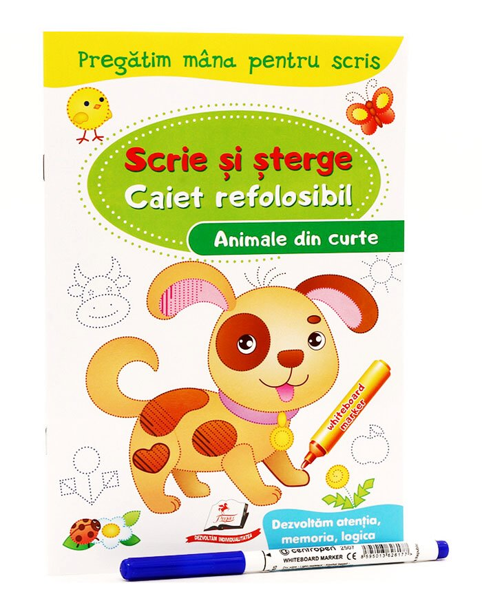 Scrie si sterge. Caiet refolosibil marcher. Animale din curte. N*4407