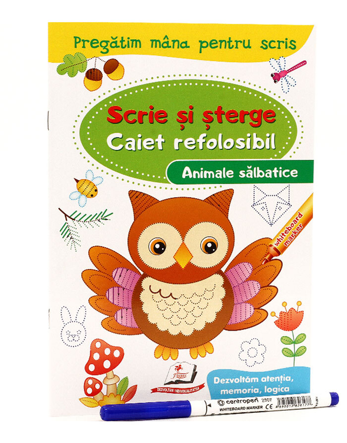 Scrie si sterge. Caiet refolosibil marcher. Animale salbatice. N*4377
